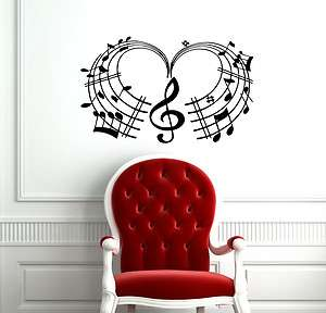 MUSIC NOTE HEART CUTE DESIGN WALL VINYL STICKER DECALS ART MURAL D2094