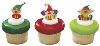 12 ELF cupcake PICKS party CHRISTMAS elves SECRET santa