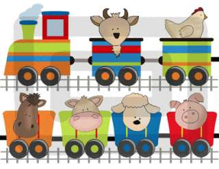 BARNYARD FARM ANIMALS TRAIN BABY WALL STICKERS DECALS