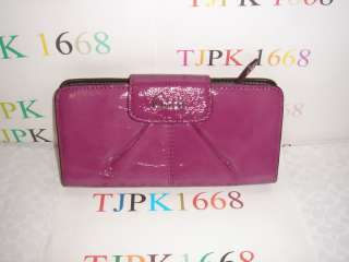 ~Dark Plum~Ashley Patent Leather Slim Envelope Wallet 46309