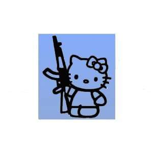 6 BLACK Vinyl Decal   Hello Kitty AK 47 REVOLUTION   Car