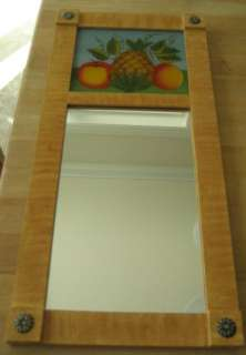 Folk Art Reverse Painted Glass Mirror Pineapple