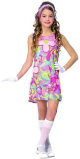 Child Large Girls Groovy Girl Costume   Hippie Costumes