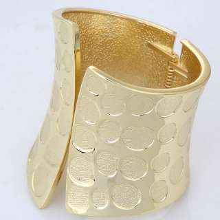 modern cool new fashion design wide spot yellow gold plated chunky