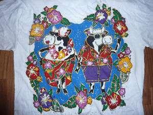vtg 90s womens t shirt OS nwt Fun Art Hawaiian Cows