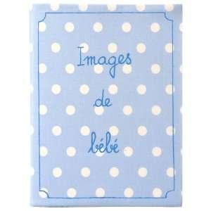 Baby Photo Album Brag Book   Blue Polka Dots French Cotton Baby