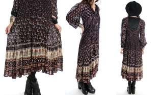 Vintage 70s black gauze cotton maxi dress featuring quilted detail