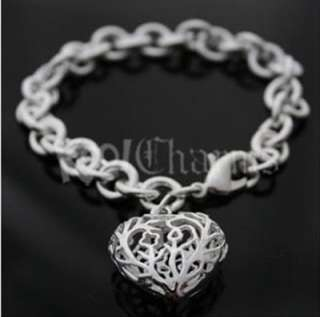 Silver Hollow Heart Tag Bracelet Xmas Gifts BHP