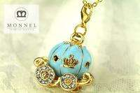 R265 Blue Carriage Charm Pendant Necklace (+Gift Box)