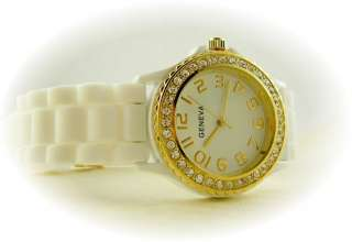 Big Face Ceramic Style Silicone Gel Gold Crystal Watch