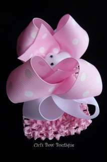 Boutique BIG Hair Bow Headband Pink White Bunny