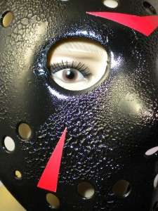 JASON FRIDAY 13TH BLACK MASK PLASTIC W LEATHER STRAPS
