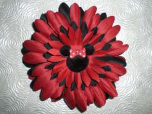 Red & Black MINNIE MOUSE Flower Baby Hairbow Hat Clip