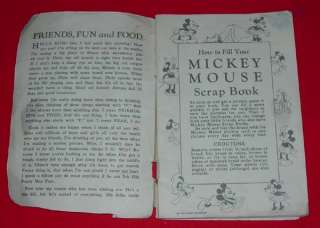 DISNEY MICKEY MOUSE RECIPE SCRAP BOOK MAIERS 1930s