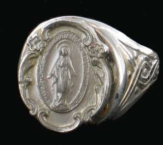 VINTAGE BLESSED MOTHER SILVER PLATE ADJUSTABLE RING MIRACULOUS MEDAL