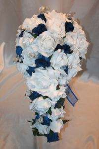 Blue Silk Flower Wedding Bridal Bouquet Package Centerpieces to match