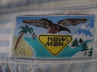 NEW MAN Mens Blue Striped Button Down Shirt Size 2