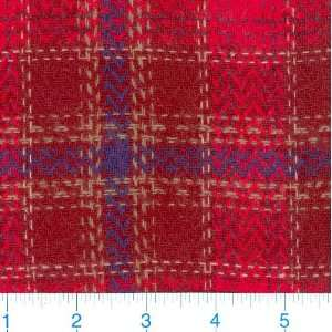 58 Wide Wool Suiting Red/Purple Plaid Fabric By The Yard