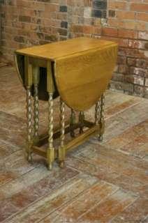 Nice 1940s Light Oak Solid Gateleg Barley Twist Table