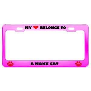 Manx Cat Pet Pink Metal License Plate Frame Tag Holder