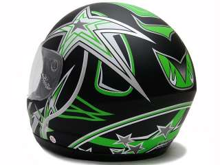 MATTE GREEN FULL FACE MOTORCYCLE HELMET SPORT STAR ~S