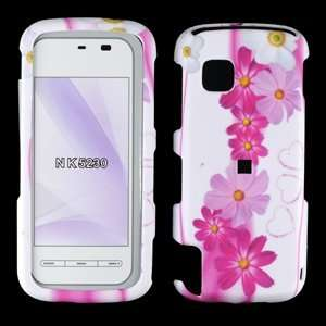 Nokia 5230 Nuron, Pink Flower Phone Protector Cover Case