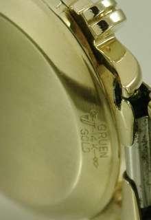 14k SOLID GOLD Gruen Automatic Bumper Watch, Excellent Cond, 17 Jewel