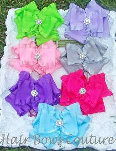 Double Ruffle Boutique Hair Bow Baby Toddler Crystal