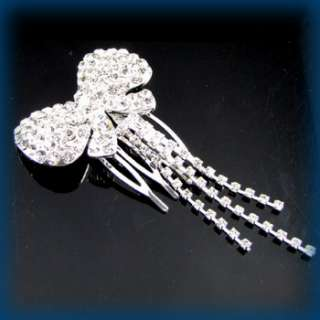 Item  clear rhinestone crystal bow tie hair combs bridal