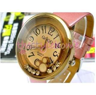 Pattern Pink Strap Wrist Watch for Lady Girl Sweet Gift NEW