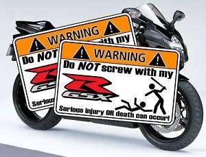 Funny PAIR GSXR Suzuki Warning Sticker Decal motorcycle