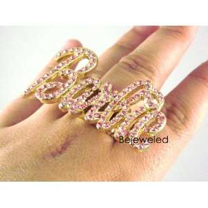 ICED OUT NICKI MINAJ BARBIE RING GOLD PINK STRETCH Sports
