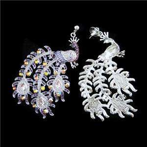 Peacock Necklace Earring Set Austrian Rhinestone Crystal Brid Peafowl