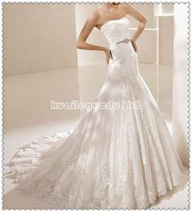 Bridal ivory lace mermaid Wedding dress formal gown zipper&buttons