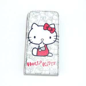hello kitty white stand flip leather case for iphone 4 4G