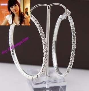 Fresh Crystal Super star Clear Rhinestone Round Earrings 6cm