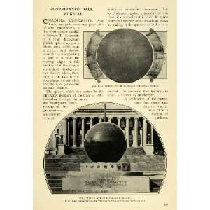 1914 Print Columbia University Sundial Monument NY   Original Halftone