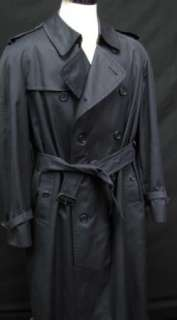 BURBERRY London Classic Navy Blue Mens Belted Overcoat Trench Coat 44
