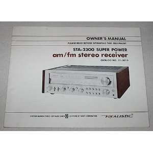 : Realistic AM/FM Stereo Receiver STA 2300 Super Power Owners Manual