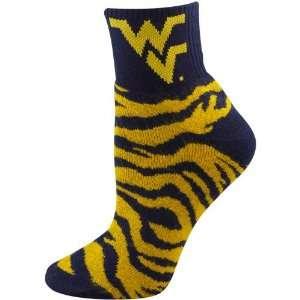 Navy Blue Old Gold Tiger Stripe Quarter Socks