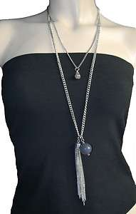 TWO CHAIN DANGLING TASSEL PENDANT STATEMENT NECKLACE