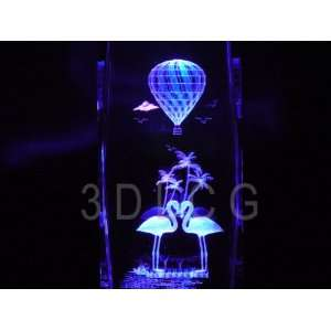 Flamingo Birds 3D Laser Etched Crystal 6 Inch Everything