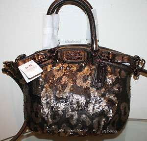 COACH Madison Sequin Mini SOPHIA Bag Purse 18638 NWT Bronze *HOT