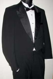 Pierre Cardin Black Tuxedo Tailcoat Jacket Tails Coat Wool Wedding
