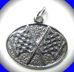 Car racing flag race Charm Pendant Silver Jewelry