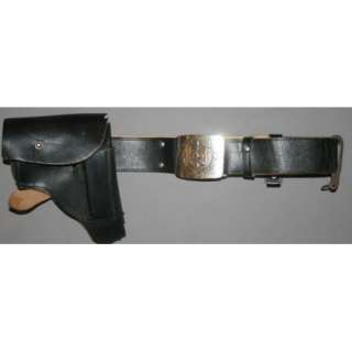 VINTAGE USSR RUSSIAN MILITARY BLACK LEATHER BELT GUN WALTER PPK
