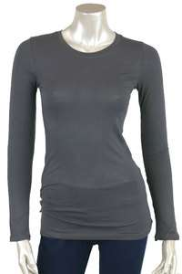 Ladies Crew/Round Neck Cotton/Spandex Long Sleeve T Shirt S M L XL 2XL