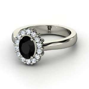 Princess Kate Ring, Oval Black Onyx 14K White Gold Ring with Diamond