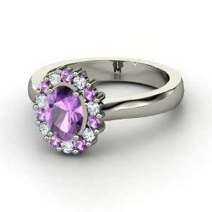 Princess Kate Ring, Oval Amethyst Palladium Ring with Amethyst