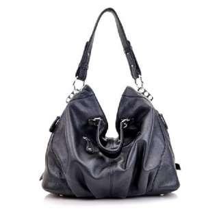 Black Genuine Leather Real Leather Tote Shoulder Bag Purse Hobo